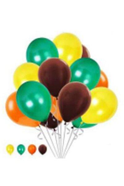BalonEvi 40 Adet Safari Orman Temalı Metalik Balon ; Sarı-turuncu-kahverengi-yeşil