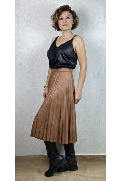 Milestone Kadın Siyah Güpür Detaylı Deri Bluz