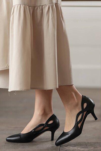 Mio Gusto Violetta Siyah Topuklu Ayakkabı