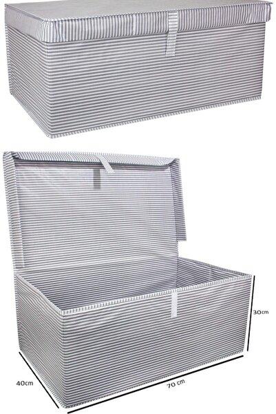 Meleni Home 2 Adet Kapaklı Çok Amaçlı Hurç Saklama Kutusu Organizer Mega Plus 70 X 40 X 30 Cm Gri