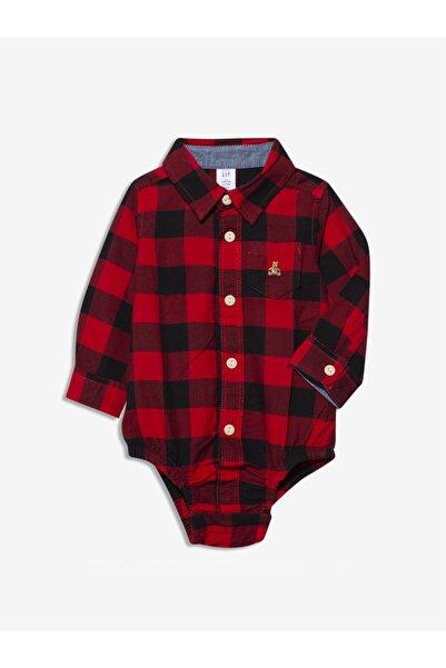 GAP Baby Erkek Bebek Kırmızı Ekose Uzun Kollu Body