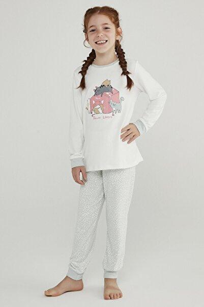 Penti Kız Çocuk Beyaz Çok Renkli Pet Love Termal 2li Pijama Takımı