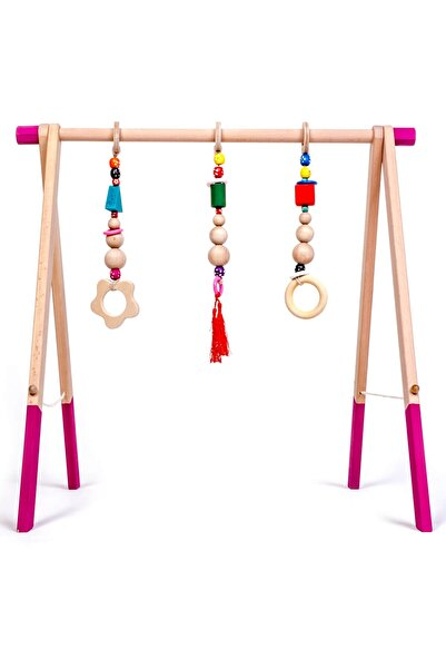 İngodi Ahşap Bebek Oyun Halısı Oyuncağı - Bebek Aktivite Ahşap Oyuncağı (pembe) - Ce Belgeli