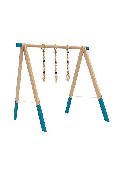 İngodi Ahşap Bebek Oyun Halısı Oyuncağı - Bebek Oyuncak Aktivite Seti (turkuaz) - Ce Belgeli