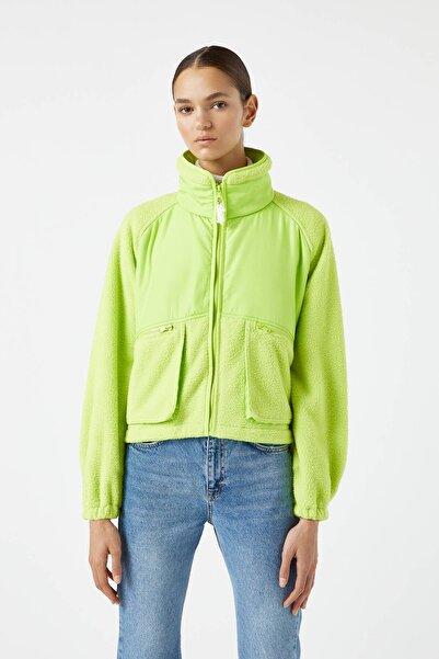 Pull & Bear Kadın Limon Yeşili Limon Yeşili Polar Ceket 09710436