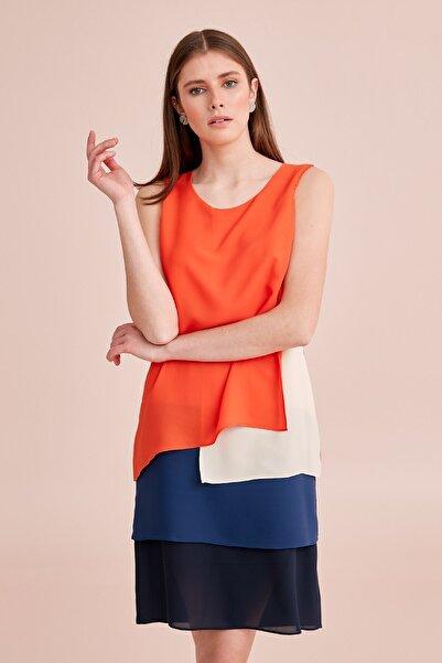 Journey Kadın Dört Renkli Oranj Elbise