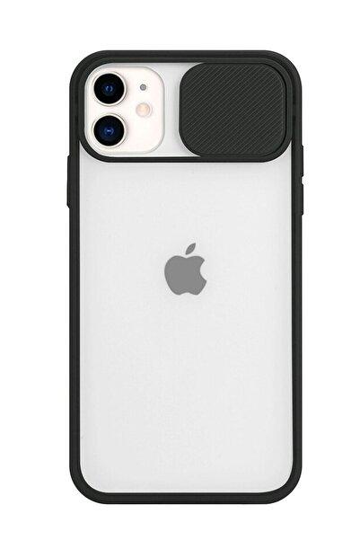 POFHİ Iphone 11 Kamera Slayt Korumalı Siyah Şeffaf Telefon Kılıfı