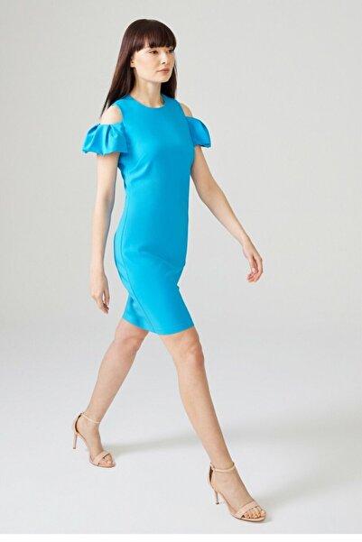 adL Kadın Turkuaz Omuzları Açık Elbise 12433667006015