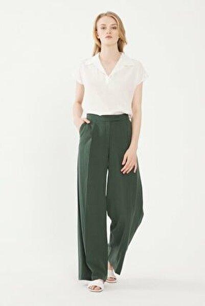 Kadın Yeşil Beli Lastikli Pantolon 15338560000009