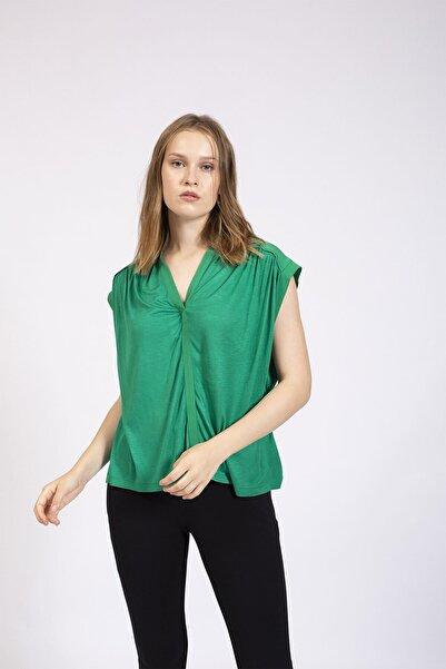 Hanna's by Hanna Darsa Kadın Yeşil Önden Patlı Kolsuz Bluz