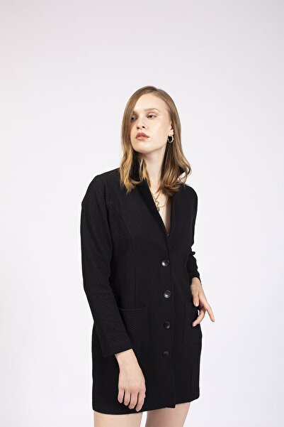 Hanna's by Hanna Darsa Kadın Siyah Klasik Ceket