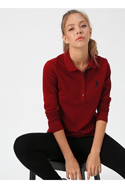 U.S. Polo Assn. Kadın Bordo Polo Yaka T-shirt