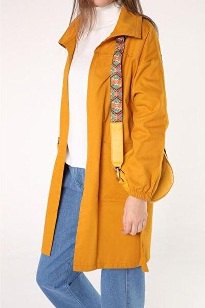 ALLDAY Kadın Sarı Düşük Kol Kuşaklı Cepli Doğal Kumaş Trençkot