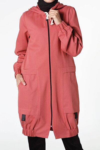 ALLDAY Kadın Pembe Akik Eteği Büzgülü Kapüşonlu Trençkot