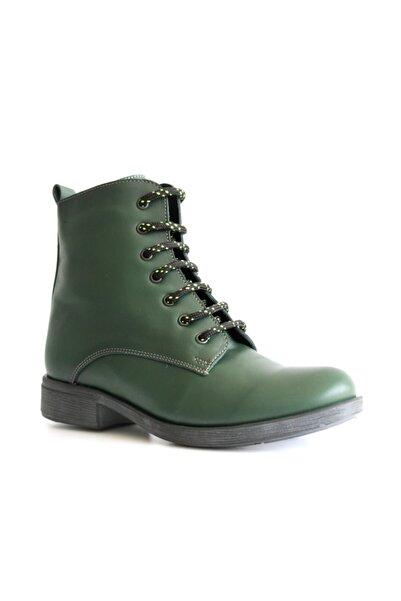 Beta Shoes Kadın Hakiki Deri Bot Yeşil