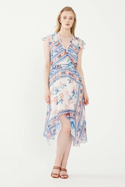 adL Kadın Beyaz Mavi Desenli Kruvaze Kısa Kollu Elbise