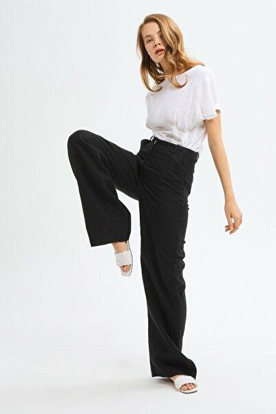 adL Kadın Siyah Geniş Paçalı Pantolon