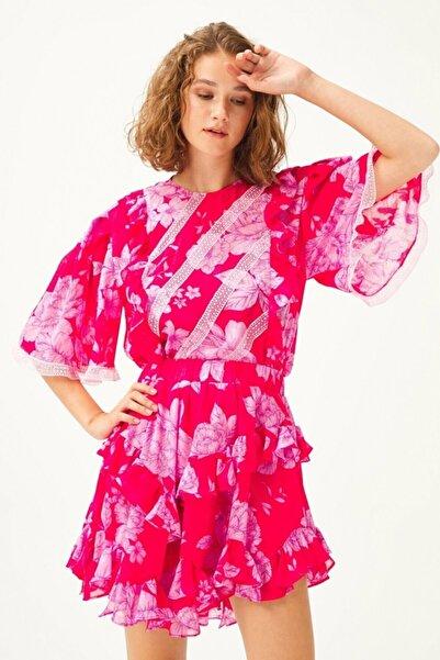 adL Kadın Pembe Dantel Detaylı Bluz