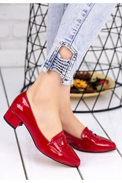 Erbilden Reyna Kırmızı Rugan Topuklu Ayakkabı