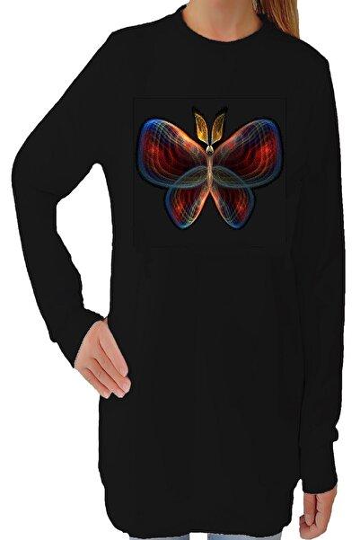 Tshigo Kadın Siyah Kelebeğin Ruhu Uzun Kollu Kapşonsuz T-Shirt