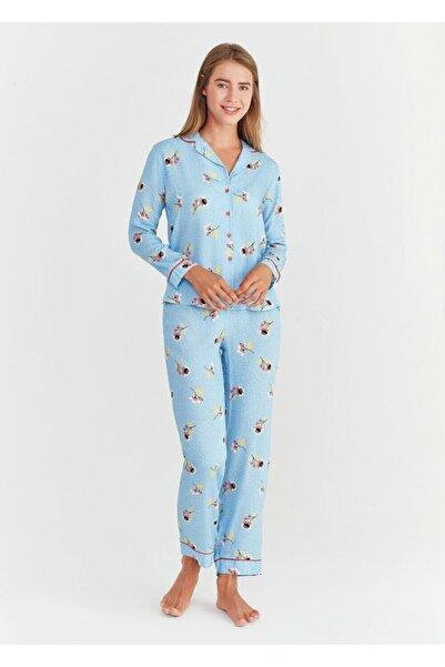 SUWEN Kadın Mavi Baskılı Ada Maskulen Pijama Takımı
