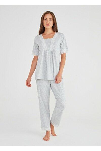 SUWEN Kadın Gri Baskılı Lily Hamile Lohusa Pijama Takımı