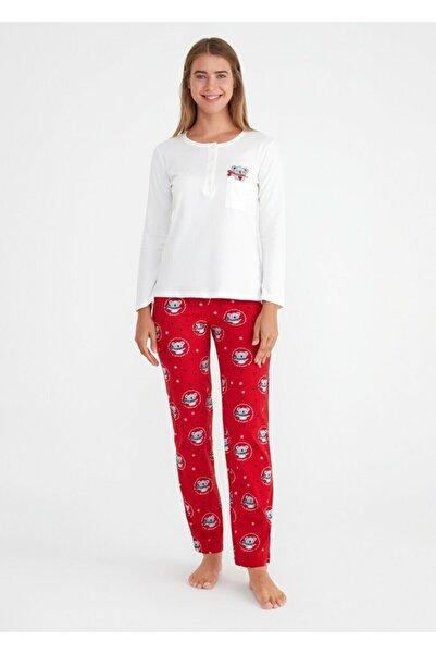 SUWEN Kadın Kırmızı Baskılı Koalina Pijama Takımı