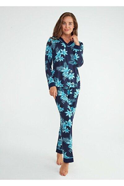 SUWEN Kadın Çiçek Baskılı Azure Pijama Takımı