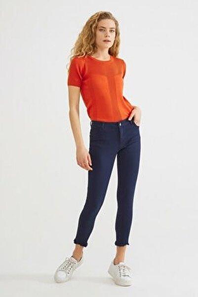 Kadın Lacivert Paça Detaylı Pantolon