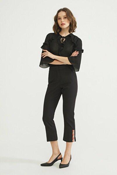 adL Kadın Siyah Paçası Detaylı Pantolon 15338384000001