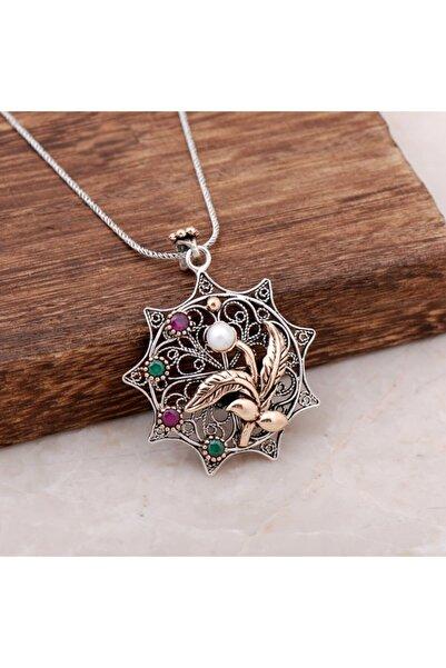 Sümer Telkari Kadın Telkari İşlemeli İnci Taşlı Tasarım Elişi Gümüş Kolye 3899