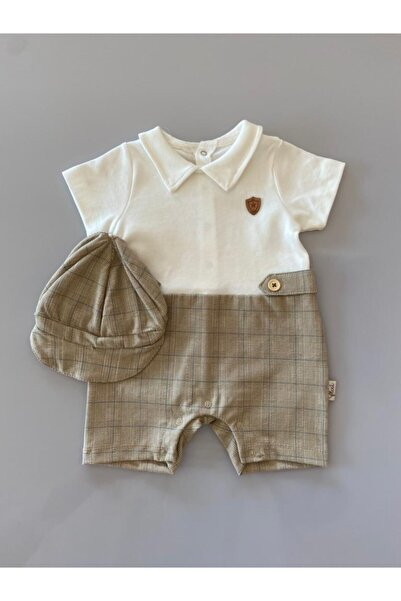 Flexi Erkek Bebek Krem  Şapkalı Takım