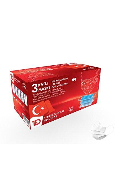 8M Türkiye Eczacılar Deposu Beyaz 3 Kat Full Ultrasonik Cerrahi Burun Telli Maske 50'li