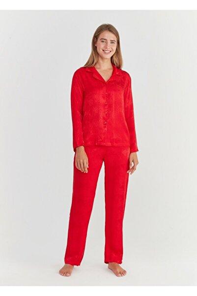 SUWEN Kadın Kırmızı Snake Maskulen Pijama Takımı