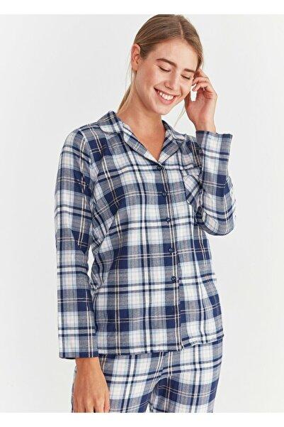 SUWEN Kadın Lacivert Adelina Maskulen Pijama Takımı