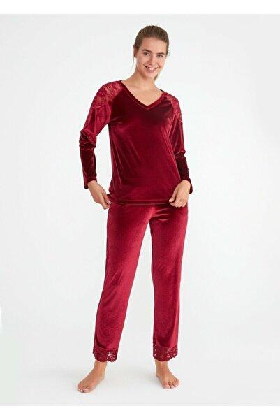 SUWEN Kadın Bordo Shinny Pijama Takımı