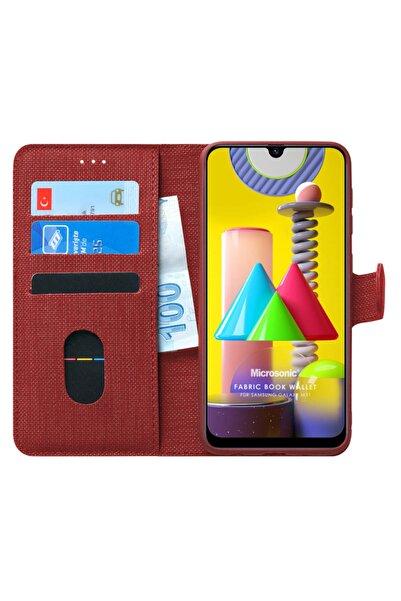 Microsonic Microsonic Galaxy M31 Kılıf Fabric Book Wallet Kırmızı