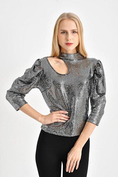 TENA MODA Kadın Gümüş Damla Detaylı Parlak Bluz