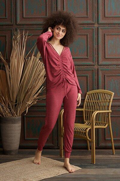 İPEKTENİM TEKSTİL Kadın Gül Kurusu Büzgülü Pijama Takım