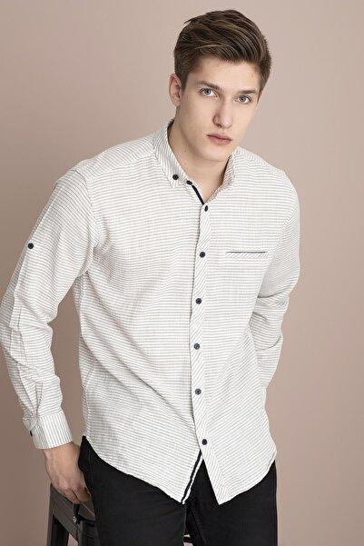 TENA MODA Erkek Haki Uzun Kollu Çizgili Regular Hasır Koton Gömlek