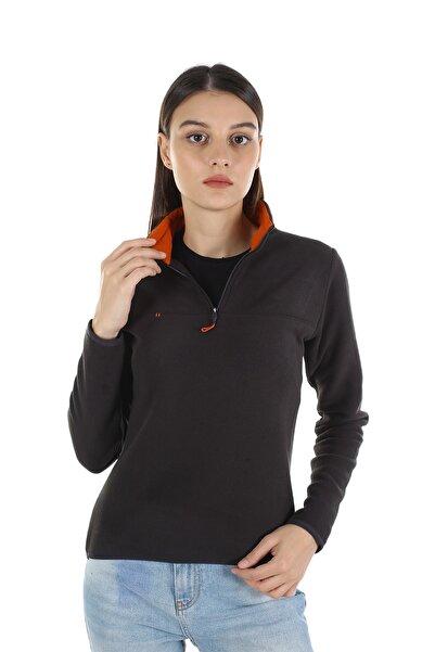 Diandor Kadın Gri Yarım Fermuarlı Polar Antrasit/slategrey 21w42000001