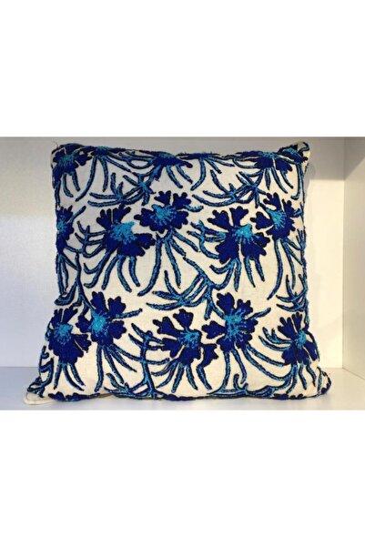 Lucky Art Vz 016 Lacivert Mavi Çiçekli Kırlent Kılıfı 45x45 Cm