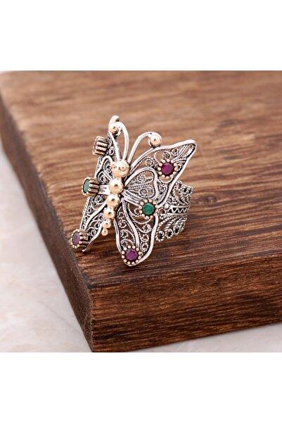 Sümer Telkari Kadın Zümrüt Yakut Taşlı Telkari İşlemeli Kelebek Gümüş Yüzük 2499