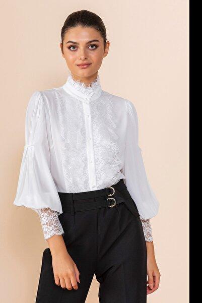 SERPİL Kadın Ekru Dantel Detaylı Gömlek