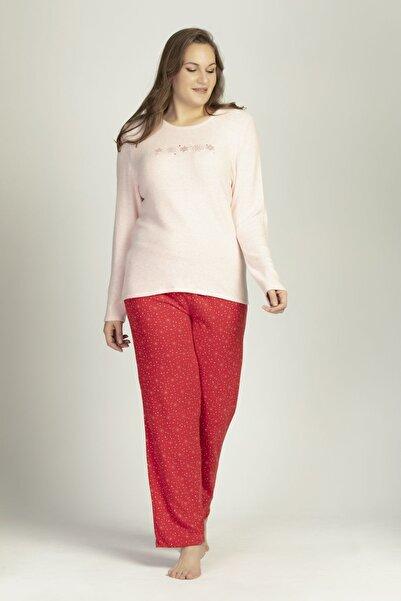 LILIAN Kadın Kırmızı Pembe  Snowflake Büyük Beden Pijama Takımı