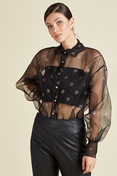 SERPİL Kadın Siyah Transparan Gömlek