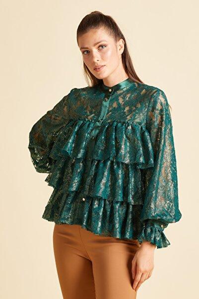 SERPİL Kadın Yeşil Fırfırlı Gömlek