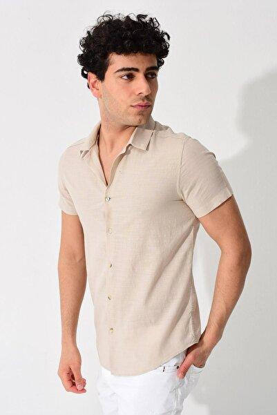 TENA MODA Erkek Taş Kısa Kollu Apaş Yaka Regular Keten Gömlek