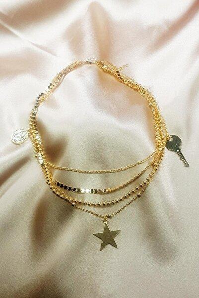 TENA MODA Kadın Gold Çoklu Yıldız Para Anahtar Figürlü Zincir Kadın Kolye