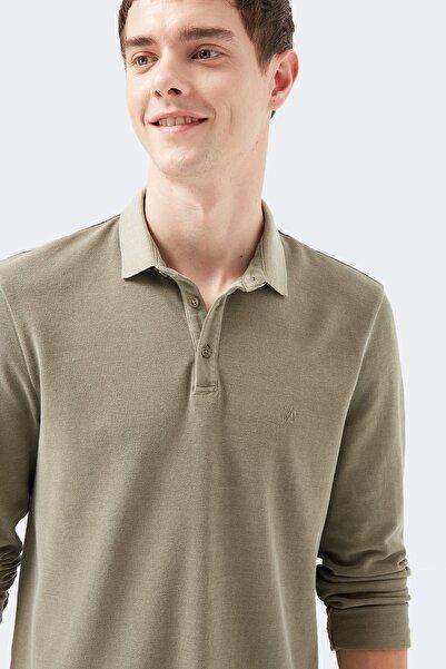 Mavi Uzun Kollu Haki Polo Tişört
